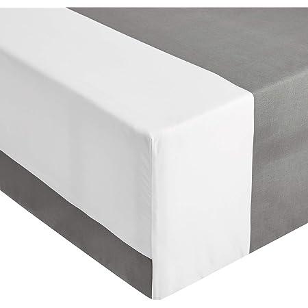 Amazon Basics Drap-housse en Microfibre de Qualité Supérieure, Rayures grises (Grey Cabana Stripe), 160 x 200 x 30 cm