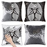 Funny Sequin Pillow Case Nightmare Before Christmas Jack and Sally Skeleton Magic Reversible Mermaid Pillowcase Decorative Throw Pillow Cover Cushion Cover 1Pc