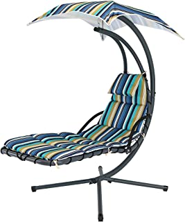 Sunnydaze Floating Chaise Lounger, Outdoor Hanging Hammock Patio Swing Chair with Canopy and Arc Stand, Lakeview