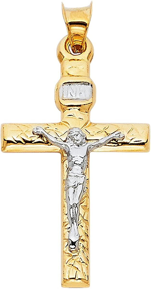 TGDJ Two Tone 14K Gold Crucifix Cross Religious Charm Pendant (31x20 MM)