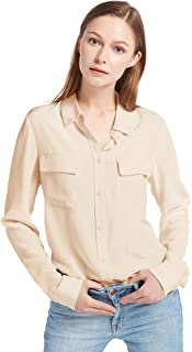 Women's 100% Silk Blouse Long Sleeve Ladies Shirts 18 Momme Silk
