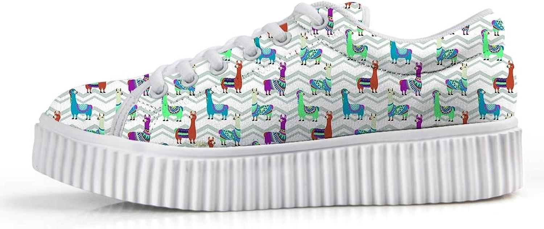 Owaheson Platform Lace up Sneaker Casual Chunky Walking shoes Low Top Women Smiling Cosplay Drama Llama