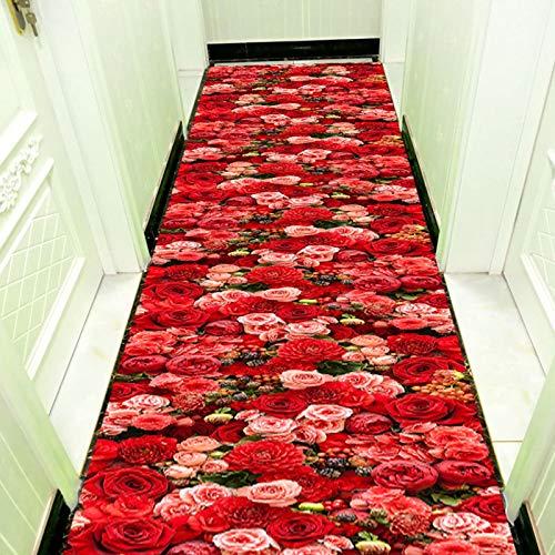 LSM Alfombra Pasillo Almohadillas Elegantes para Alfombras de Pasillo, Alfombras con Diseño de Rosas 3D, Alfombras Antideslizantes para Decoración de Interiores/Dormitorios, Felpudo Fino Rojo