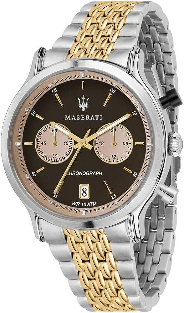 Maserati orologio da uomo, collezione legend, cronografo, in acciaio e pvd oro giallo 8033288861027