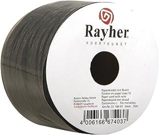 Rayher 5116001 Papierkordel mit Draht, 2 mm, Rolle 25 m, schwarz