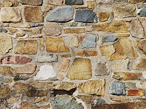 Pareti in pietra 1 – Esclusivo motivo artistico XXL, dimensioni: 120 x 90 cm formato orizzontale, stampa digitale su vetro acrilico 5 mm. Francia Bretagna pietra muro rosso marrone beige immagine grande arte