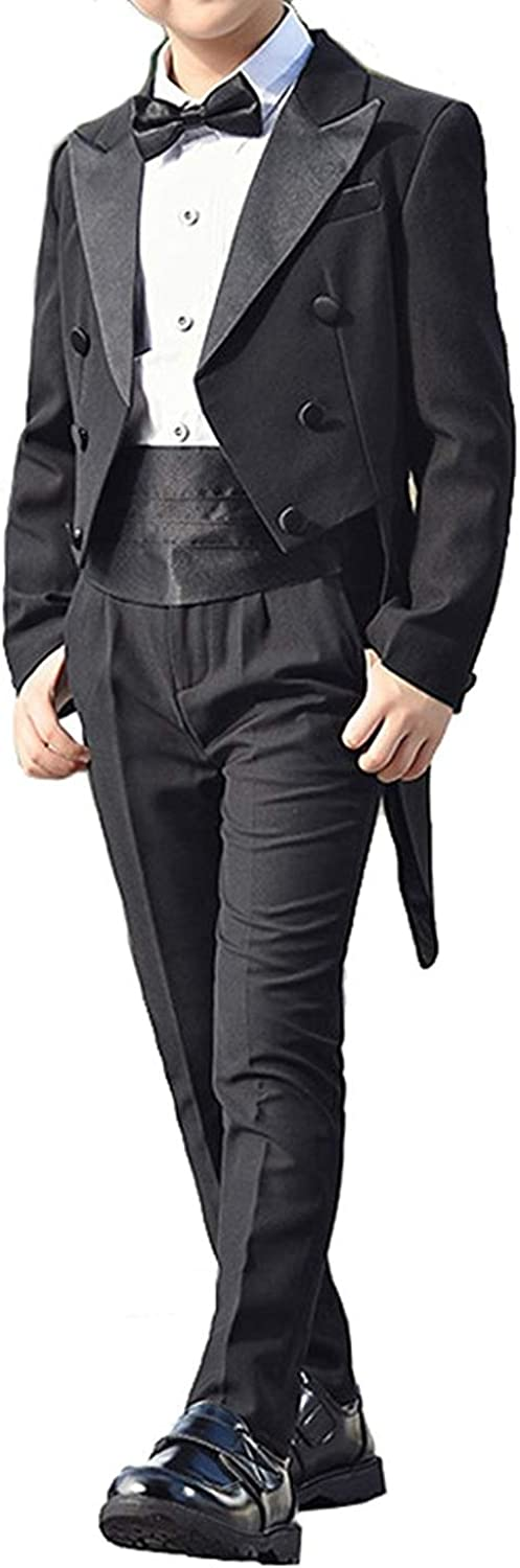 SHENLINQIJ Boys 2 Pieces 3 Buttons Tail Tuxedo Suits Coat and Pant