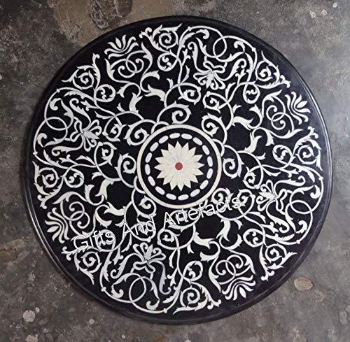 Konferenztisch mit Pietra Dura Art, Marmor, rund, 91,4 x 91,4 cm, Schwarz