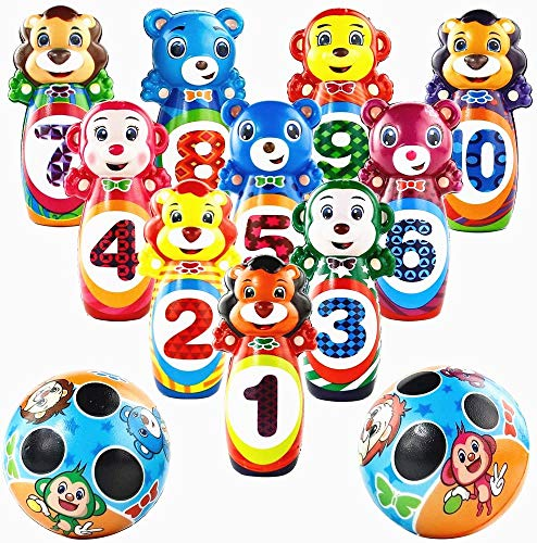jerryvon Kegelspiel für Kinder Bowling Set Tier Ball Kinder Bowlingkugel Drin und Draußen Lernspiele Kinderspielzeug Pädagogisches Spielzeug Geschenk Mädchen Jungen Kinder Mini Spiele ab 3 4 5 Jahren
