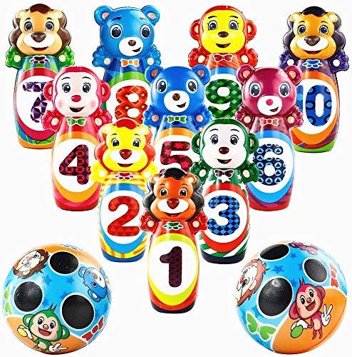 jerryvon Bowling Kinder Kegelspiel Outdoor Tier Pädagogische Spielzeug Schaumball Soft Kegelspiel Roll Ball Spielzeug für Kinder 3 4 5 6
