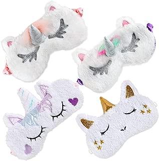 Onshine Unicorn Sleeping Mask 4Pack Soft Plush Blindfold Cute Unicorn Horn Sleep Mask Eye Mask for Girls Women Kids