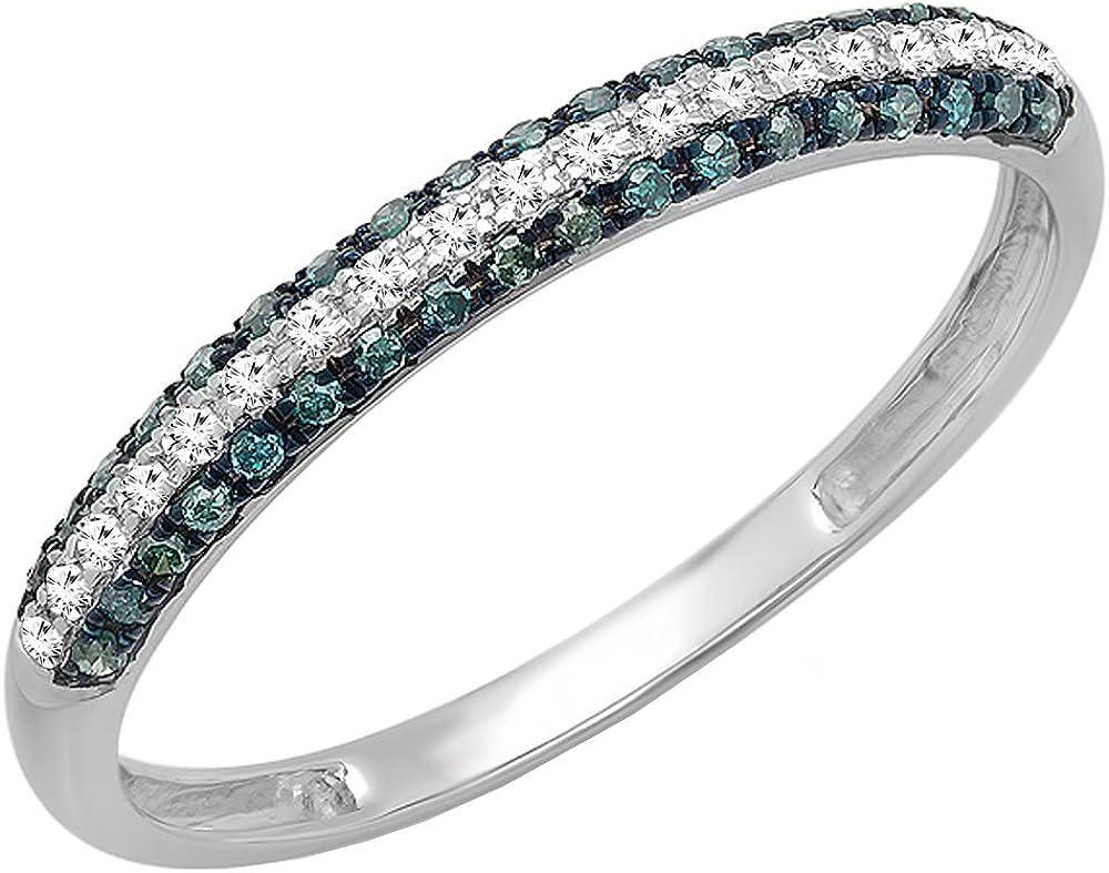 Dazzlingrock Collection 0.20 Carat (ctw) 10K Gold Round Blue & White Diamond Ladies Stackable Wedding Band 1/5 CT
