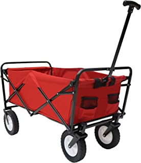 Victoria Young Collapsible Outdoor Utility Wagon Folding Cart All-Terrain Wheels Trolley for Shopping Beach Garden, Red