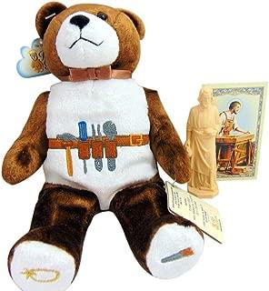 Westmon Works St Joseph Home Seller Kit with Worker Statue, Prayer Card and Plush Carpenter Teddy Bear