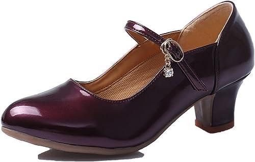 BYLE Sangle de de Cheville Sandales en Cuir Chaussures de Danse Modern'Jazz Samba de Femmes d'été Tendon de Boeuf glacé Fond Mou Confortable Lumière Rouge 3cm Chaussures de Danse  80% de réduction