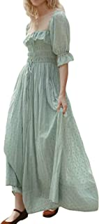 Women Summer Half Sleeve Cotton Ruffled Vintage Elegant Backless A Line Flowy Long Dresses