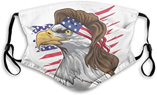 Bald Eagle Mullet 4th Dust Face Mask Adjustable Mouth Mask Balaclava Bandanas With Filter Paper For Kids Teens Men Women M