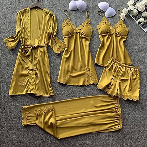 N\C Señoras Primavera y Verano Sexy Encaje Liguero Camisón Kimono Albornoz Traje Satén Servicio a Domicilio Vestido de camisón de Boda