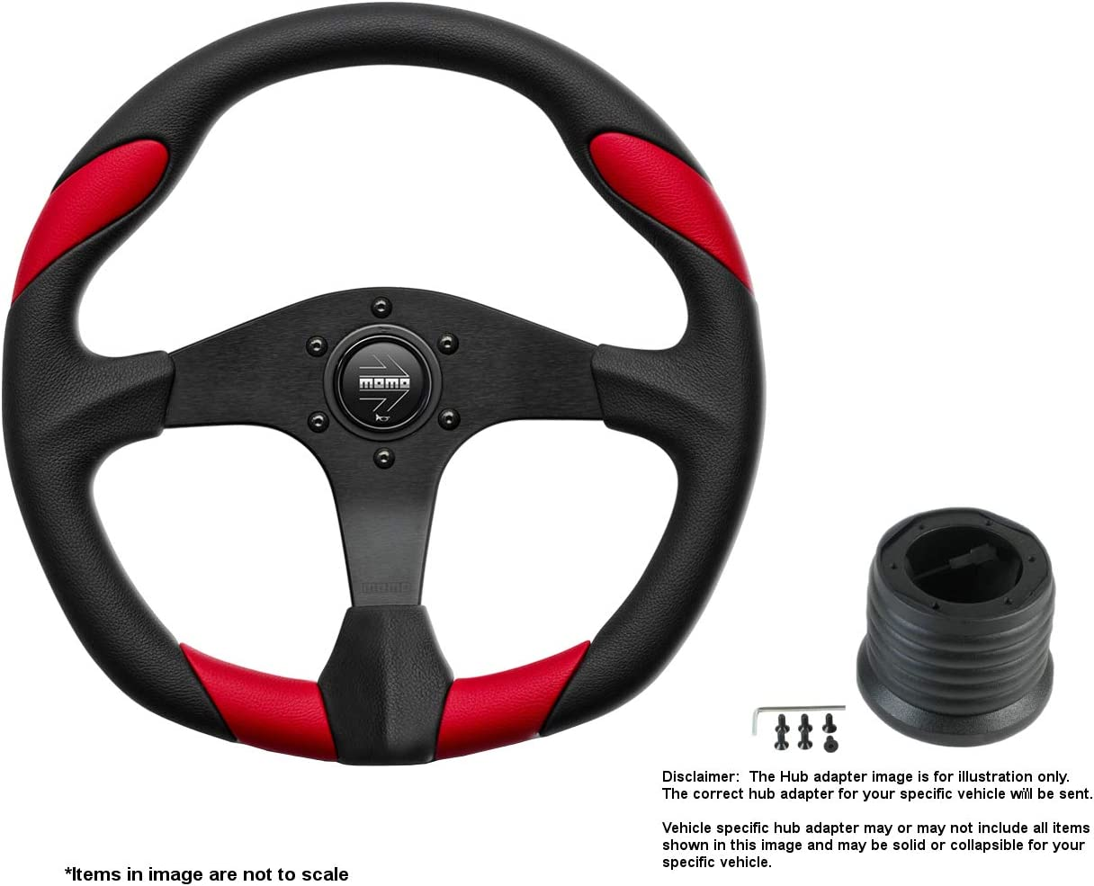 MOMO Genuine Free Shipping Quark Red Mail order 350mm 13.78 Inches Steering w Bla Brushed Wheel