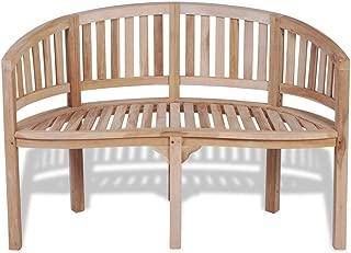 Teak Patio Bench Banana Shape Wooden Garden Chair Seat Outdoor 2-Seater
