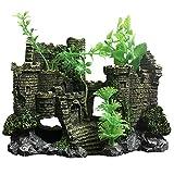 SLOCME Decoración de castillo de resina medieval para acuario, decoración de pecera, decoración de paisaje, refugio de castillo para acuario reptil Betta Fish
