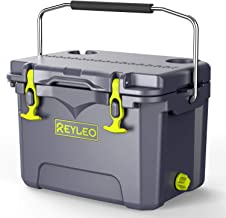 REYLEO Cooler, Rotomolded Cooler 21-Quart,2:1 Ice-to-Contents, 30-Can, 3-Day Ice Retention, Heavy Duty Ice Chest, Built-in Bottle Opener, Cup Holder, Fishing Ruler,Drain Plug - A21