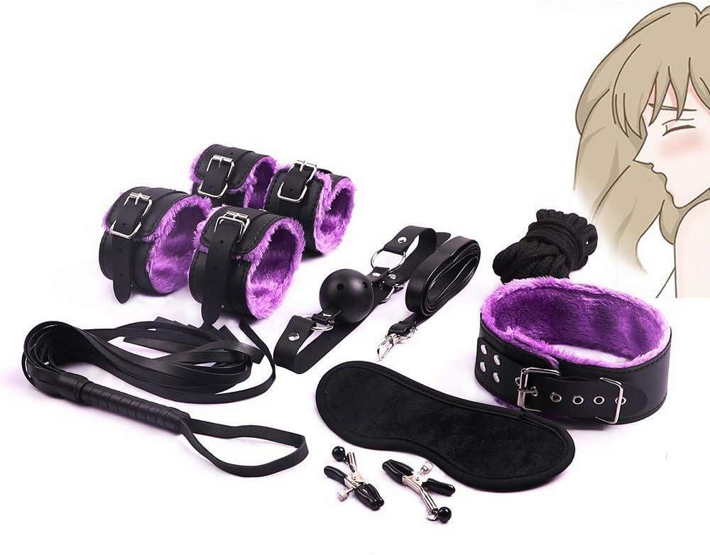 Erlove Kit de Yoga de Felpa de Cuero con Collar de Pulsera Ajustable de 8 Piezas (púrpura)