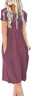 DB MOON Women's Casual Summer Empire Waist Tshirt Dresses with Pockets