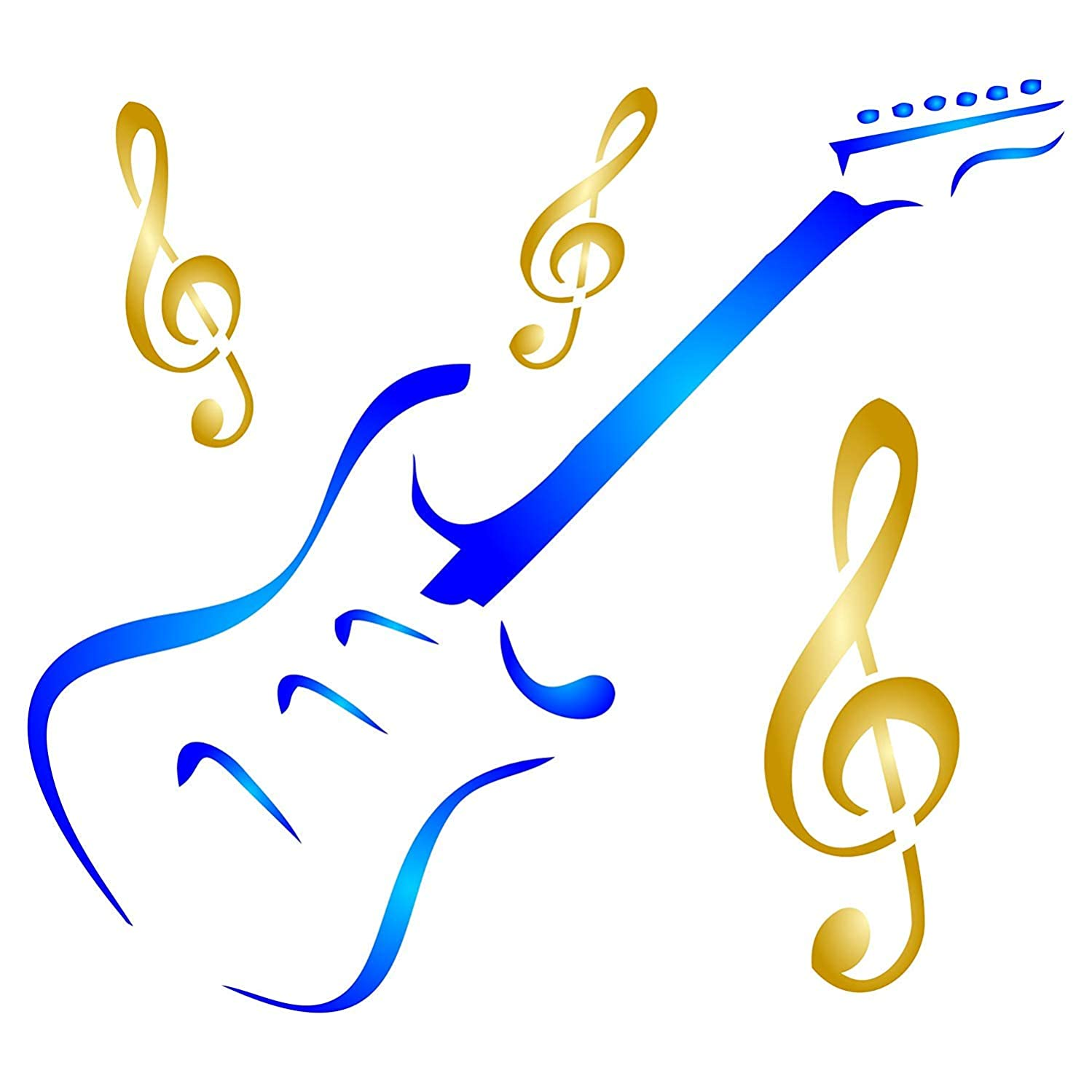 Guitar Stencil - 5 x 4.5 inch (S) - Reusable Musical Instrument Treble Clef Music Stencils for Painting - Use on Paper Projects Scrapbook Journal Walls Floors Fabric Furniture Glass Wood etc.