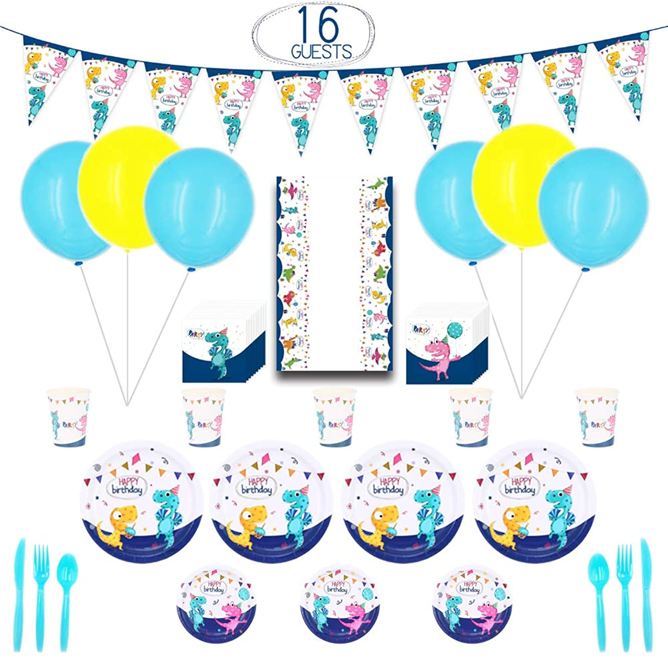 Tinfun Dinosaur Party Supplies Kit – 148 pcs with Banner,Balloon,Plates,Cups,Napkins,Table Cover,Tableware and Ribbons for Kids' Birthday Party Decoration,Serves 16
