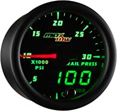 MaxTow Double Vision 30,000 PSI Fuel Rail Pressure Gauge - for 2002-2017 6.6L Chevy Duramax & 2003-2017 5.9L / 6.7L Dodge Cummins Diesel Trucks - Black Gauge Face - Green LED Dial - 2-1/16