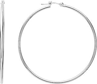 10k White Gold 1.5mm Shiny Round Tube Hoop Earrings