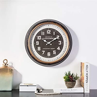 Fengfeng Wall Clock, Creative Retro Metal Wall Watch Living Room Decoration Mute Mirror Clocks (