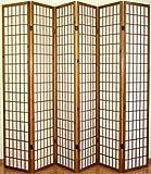 PEGANE Biombo japonés Shoji de Madera Color castañ Oscuro de 6 Paneles