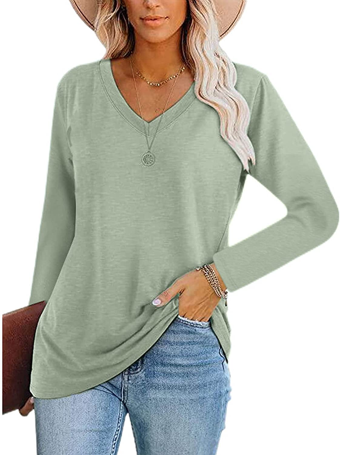 UOCUFY Sweatshirts for Women, Womens Casual Long Sleeve Sweatshirts Tops Cute Graphic Crewneck Pullover Tunic Tops