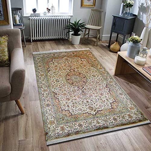 TrendyLiving4U tapijt woonkamer laagpolig Kashmir zijde Kashan handwerk 171x243CM
