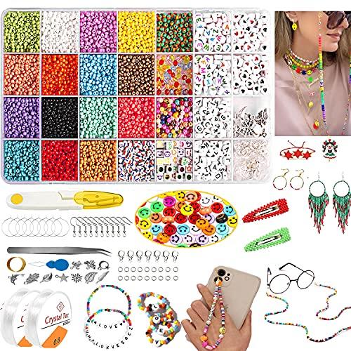 TOPLDSM Glasperlen Set 3mm , 8500 Stück Perlen zum Auffädeln Buchstaben Perlen Schmuck Basteln Selber Machen Kinder, Erwachsene Perlenkette für Armbänder Selber Machen (28 Farbe)
