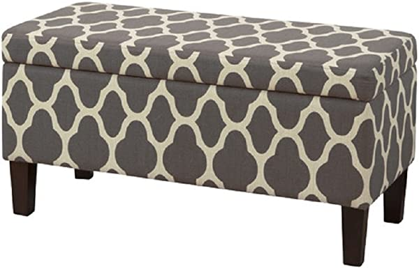 HomePop Upholstered Decorative Storage Ottoman Warm Gray