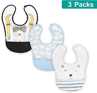 3 Pcs Waterproof Cotton Bibs with Crumb Catcher for Infant Baby | Stain and Odor Resistant Waterproof Protection for Messy Eaters | Breathable Bibs with Food Catcher and Adjustable Closure 3-18 Months
