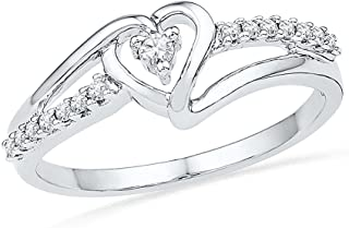 D-GOLD Sterling Silver White Round Diamond Fashion Ring (1/10 CTTW)
