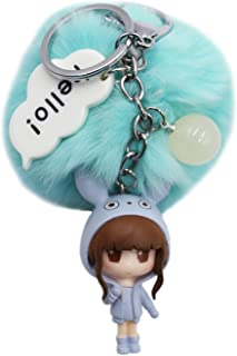 Aibearty Cute Keychain Pom Pom Girl Keyring Bag Backpack Pendant