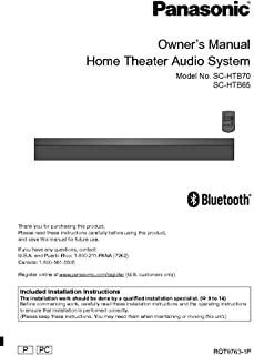 Panasonic SC-HTB65 SC-HTB70 Home Theater System Owners Instruction Manual Reprint [Plastic Comb] [Jan 01, 1900]