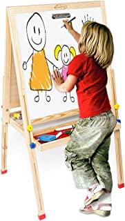 ShowMaven Upgraded Kids Easel for Painting,All-in-One Standing Blackboard Wooden Children's Art Easel,with Storage Tabletop Chalk Marker Color Pencil