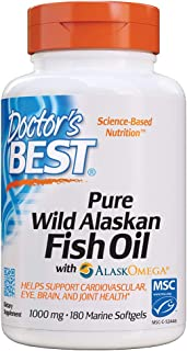 Doctor's Best Pure Wild Alaskan Fish Oil with AlaskOmega, Heart, Brain, Mental Wellbeing, Eyes, Non-GMO, Gluten Free, 180 ...
