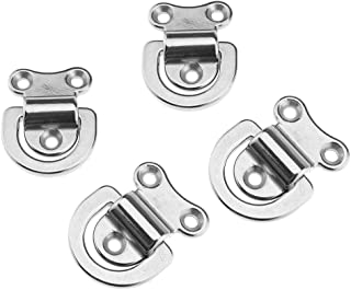 Micro Trader 4pcs Stainless Steel Tie Down Pad Folding Lashing Eye D Ring Compatible with Truck Marine Boat