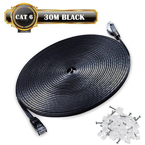 JONI FUN 30m Cable de Red Cat6 Gigabit Ethernet Cable LAN – Cable de Conexión a Red – RJ45 Cable de Parcheo(1000 Mbit/s/1 Gigabit/Twisted Pair/FTP/sin Halógeno/100% Cobre) – 30M Negro – Clips Gratis