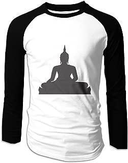 Men's Raglan Black Buddha Silhouette Clip Art T Shirt Black
