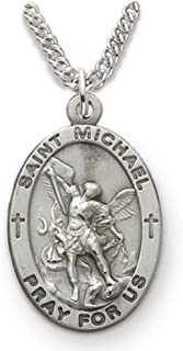 TrueFaithJewelry Sterling Silver Oval Saint Michael Patron of Police Medal, 7/8 Inch