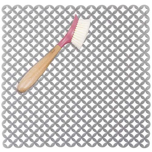mDesign Protector Fregadero – Tapete de Silicona con Ranuras, Evita arañazos en fregaderos de Acero Inoxidable – Alfombrilla escurridora para Pila o encimera – 32 x 28,5 cm – Color Gris Grafito
