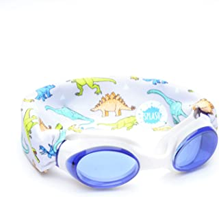 SPLASH Swim Goggles - Dino - Fun, Fashionable, Comfortable - Fits Kids and Adults - Won't Pull Your Hair - Easy to Use - High Visibility Anti-Fog Lenses - Original Patent Pending Design